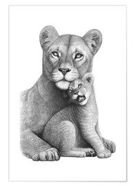 Poster Lioness with a baby
