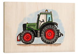 Wood print  Hugos tractor - Hugos Illustrations