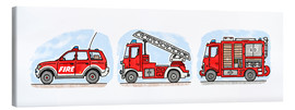 Canvas  Hugo's fire trucks - Hugos Illustrations