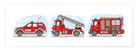 Premium poster  Hugo's fire trucks - Hugos Illustrations