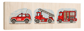 Wood print  Hugo's fire trucks - Hugos Illustrations