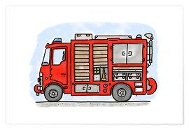 Premium poster  Hugos fire department emergency vehicle - Hugos Illustrations