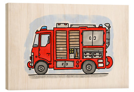 Wood print  Hugos fire department emergency vehicle - Hugos Illustrations