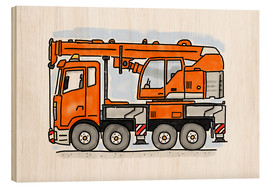 Wood print  Hugo's truck - Hugos Illustrations