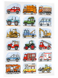 Acrylic print  All my cars - Hugos Illustrations