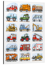 Aluminium print  All my cars - Hugos Illustrations