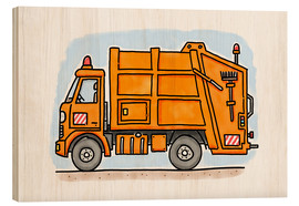 Wood print  Hugo's refuse collection - Hugos Illustrations