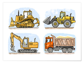 Premium poster  Hugo's Construction Site - Hugos Illustrations