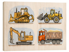 Wood print  Hugo's construction site - Hugos Illustrations