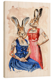 Wood print  Cute Lady-Bunnys - Peter Guest