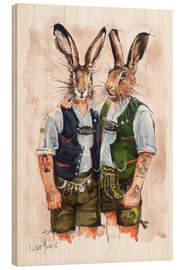 Wood print  Gay Rabbits - Peter Guest