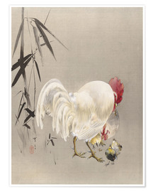 Premium poster  Rooster and Hen with Chicks - Watanabe Seitei