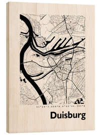 Wood print  City map of Duisburg - 44spaces