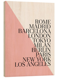Wood print  Metropolises Pink - Mod Pop Deco