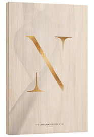 Wood print  GOLD LETTER COLLECTION N - Stephanie Wünsche