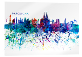 Acrylic glass  Skyline BARCELONA Colorful Silhouette - M. Bleichner