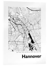 Acrylic print  City map of Hannover - 44spaces
