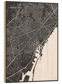 Wood print  Barcelona Spain Map - Main Street Maps
