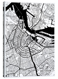 Canvas  Amsterdam Netherlands Map - Main Street Maps