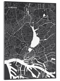 Acrylic print  Hamburg Germany Map - Main Street Maps