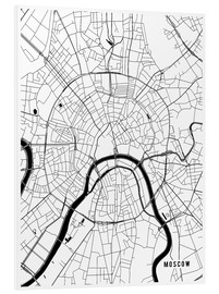 Foam board print  Moscow Russia Map - Main Street Maps