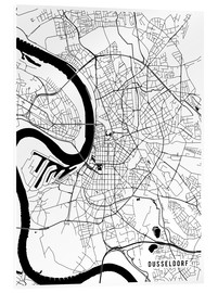 Acrylic print  Dusseldorf Germany Map - Main Street Maps