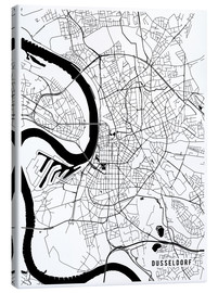 Canvas  Dusseldorf Germany Map - Main Street Maps