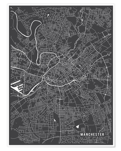 Main Street Maps Manchester England Map Poster | Posterlounge