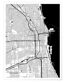 Premium poster  Chicago USA Map - Main Street Maps
