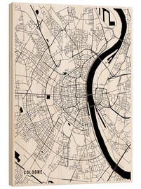 Wood print  Cologne Germany Map - Main Street Maps