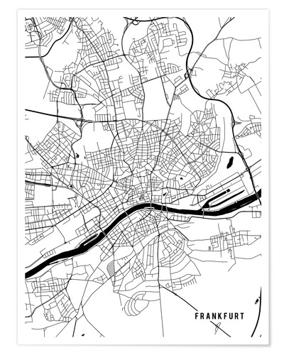Main Street Maps Frankfurt Germany Map Poster | Posterlounge