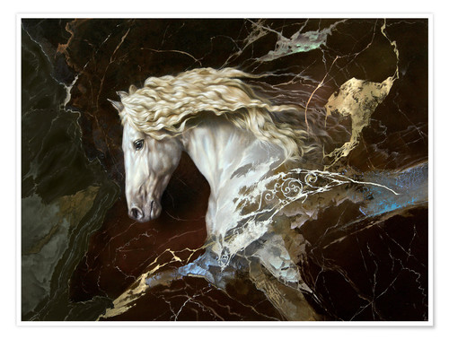 Premium poster horse on marble