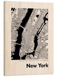 Wood print  City map of New York - 44spaces