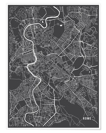 Premium poster  Rome Italy Map - Main Street Maps