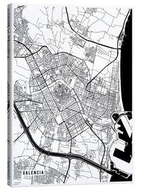 Canvas print  Valencia Spain Map - Main Street Maps