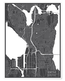 Premium poster  Seattle USA Map - Main Street Maps