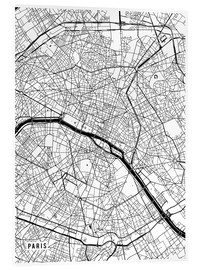 Acrylic glass  Paris France Map - Main Street Maps
