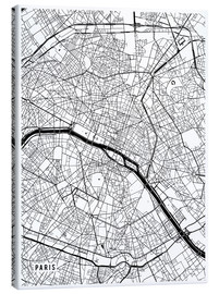 Canvas  Paris France Map - Main Street Maps