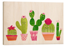 Wood print  Cactuses in the pot - Sandy Thißen
