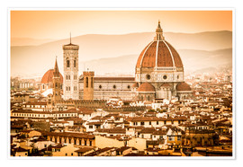 Poster  Cityscape with Cathedral and Brunelleschi Dome, Florence - Cubo Images