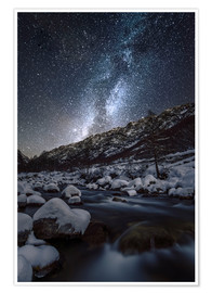 Premium poster Winter starry night