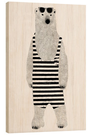 Wood print  Polar bear in a bathing suit