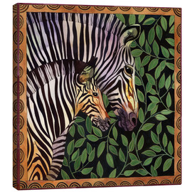 Canvas print  Two zebras against leaves