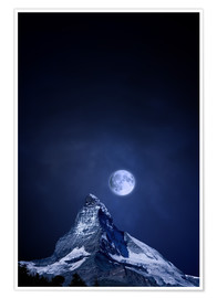 Premium poster  Matterhorn in a full moon night - BY