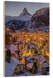 Wood print  Zermatt with Matterhorn - John Warburton-Lee