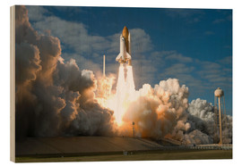 Wood print  Space shuttle Atlantis lifts off
