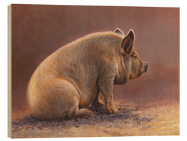 Wood print  Pig in the wallow