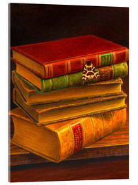 Acrylic print  Garden tiger moth on stack of books