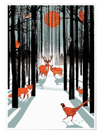 Premium poster Animals in the winter forest
