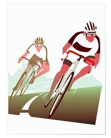 Premium poster  Cyclist in a turn - Ikon Images